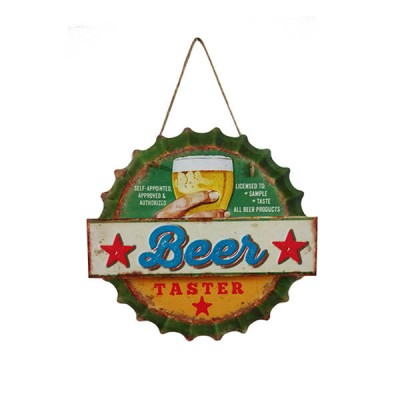 Placa Decorativa Beer Tasted Em Metal Alto Relevo Retrô Vintage 30x29