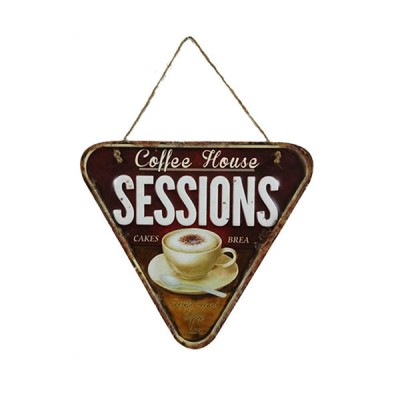 Placa Decorativa Coffee House Sessions Em Metal Alto Relevo Retrô Vintage 30x26cm