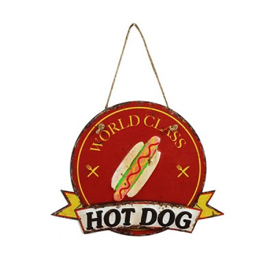 Placa Decorativa Hot Dog World Class Em Metal Alto Relevo Retrô Vintage 30x23cm