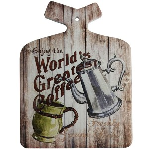 Enfeite Decorativo de Parede e Descanso de Panela World`s Greatest Coffee Retro