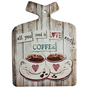 Enfeite Decorativo de Parede e Descanso de Panela Love Coffee Retro