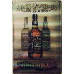 Placa decorativa de Metal Jack Daniels Charcoal Mellowed Holográfica Decoração Bar whisky Vintage