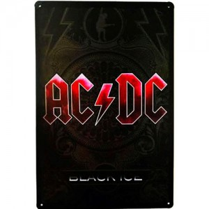Placa de Metal Decorativa Banda AC/DC Black Ice Rock And Roll Vintage