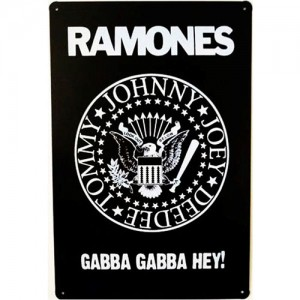 "Placa  de Metal Decorativa Banda de Rock Ramones ""Gaba Gaba Hey! "" Retrô"