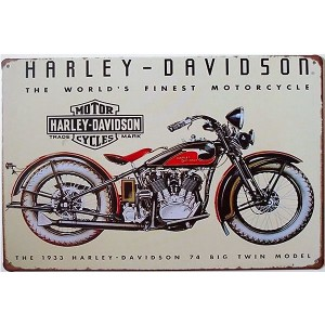 Placa de Metal Decorativa Harley Davidson 74 Big Twin Model Decoração Moto Vintage