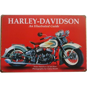 Placa de Metal Decorativa Harley Davidson All Illustrated Guide Decoração Moto Vintage