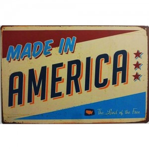 Placa de Metal Decorativa Made in America The Land Of The Free Decoração Vintage
