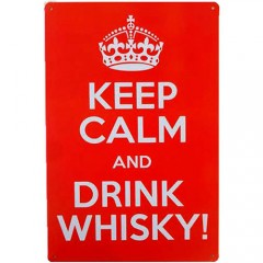 Placa de Metal Decorativa Keep Calm And Drink Whisky Decoração Vintage