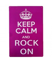 Placa de Metal Decorativa Keep Calm And Rock On Decoração Vintage