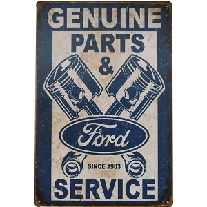 Placa de Metal Decorativa Ford Genuine Parts 1903 Garage Retrô Decoração Carro Vintage