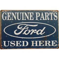 Placa de Metal Decorativa Ford Genuine Parts Garage Retrô Decoração Carro Vintage