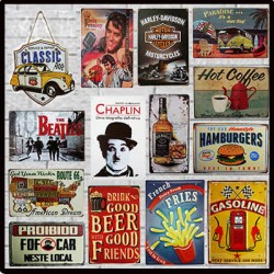 Placas Decorativas Em Metal Retro Vintage